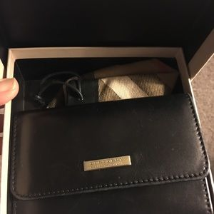Burberry Small compact Black Leather Wallet